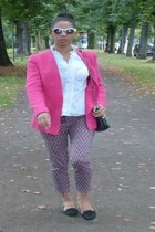 black Zara shoes - hot pink Zara blazer - black Mango bag - white Esprit blouse