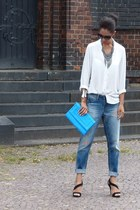 brown Mango sunglasses - blue H&M jeans - sky blue H&M bag