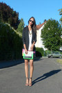 Polyester-h-m-blazer-green-h-m-purse-viscose-h-m-shorts