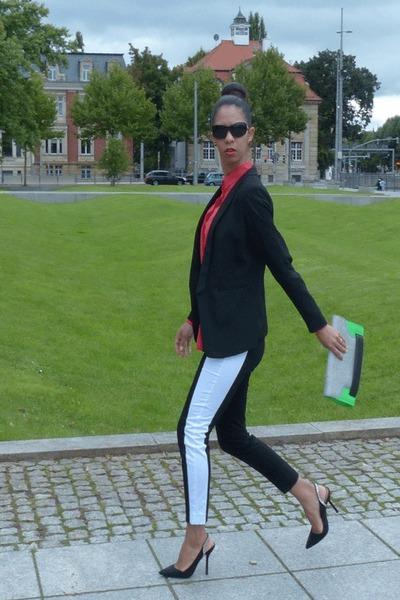 black H&M blazer - green H&M bag - black H&M pants