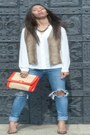 Brown-vintage-vest-blue-bershka-jeans-white-polyester-mango-blouse
