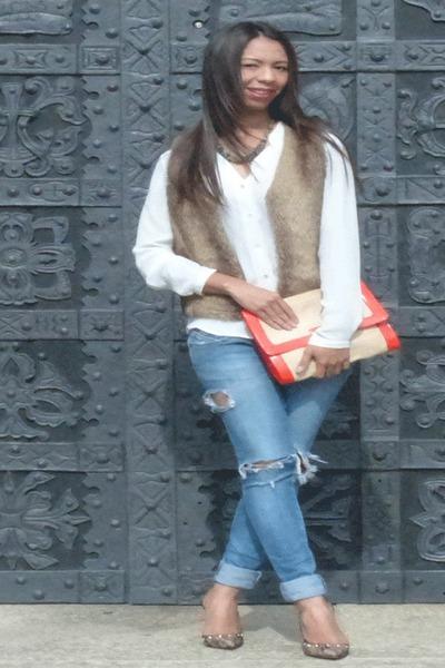 brown vintage vest - blue Bershka jeans - white polyester Mango blouse