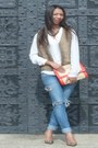 Blue-bershka-jeans-white-polyester-mango-blouse-brown-vintage-vest