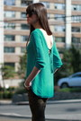 Green-zara-sweatshirt-black-juicy-couture-sunglasses-black-vera-wang-heels