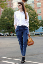 navy French Connection pants - burnt orange loewe bag - nude Ray Ban sunglasses