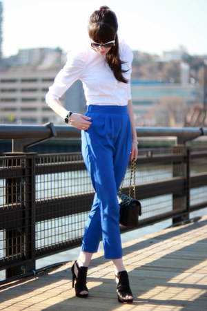 blue Aqua pants - black Chanel bag - white D&amp;G sunglasses