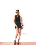 white bracelet - black dress - light brown sunglasses