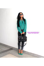 teal FriendlyFashionmy top - black Charles and Keith bag