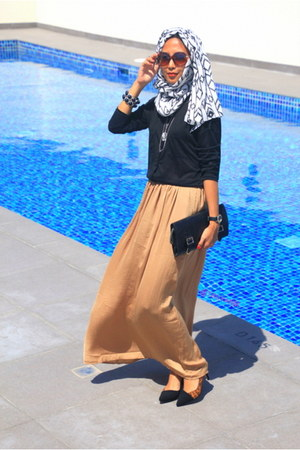 white Max Fashion scarf - bronze Max Fashion skirt - black Max Fashion blouse