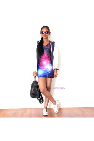 white jacket - violet Oasapcom dress - black bag - bubble gum sunglasses