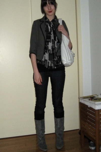 Old Navy blazer - Express blouse - Newport News boots - socks
