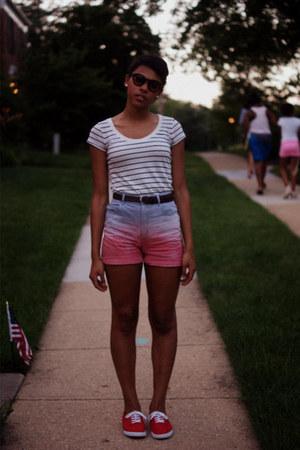 blue high-waisted vintage shorts