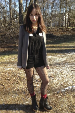 H&M blazer - Urban Outfitters boots - Forever 21 shirt