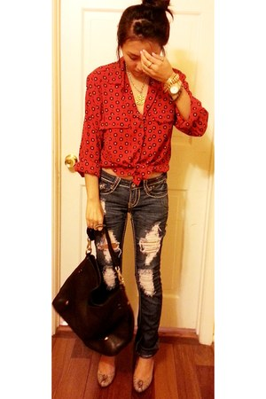 navy Cambridge jeans - tawny Anne Michelle shoes - red thrifted shirt
