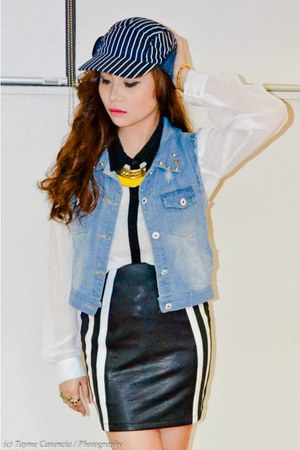 gold plated gold Forever 21 accessories - blue bench hat - black Tomato Ph skirt