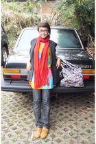scarf - vintage blazer - Zara jeans - garage store boots