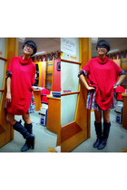 red unbranded sweater - black unbranded boots - Paisley Dress dress