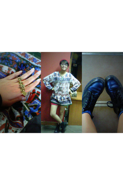 vintage blouse - doc martens boots - unbranded hat - unbranded shorts
