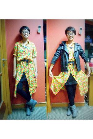 moms shirt - Payless boots - unbranded dress - unbranded jacket - Gaudi leggings