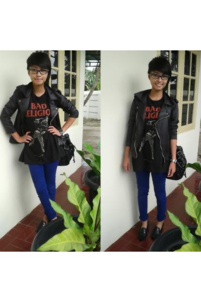 blue Zara jeans - black unbranded jacket - black unbranded bag