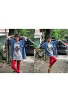 red Zara jeans - blue Gap shirt - heather gray unbranded t-shirt