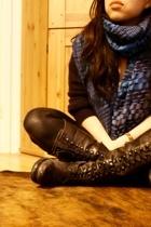 thrifted scarf - All Saints boots - blue Ralph Lauren sweater