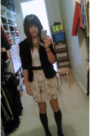 black Miss Shop blazer - white duchess skirt - white Metallicus top - black sock