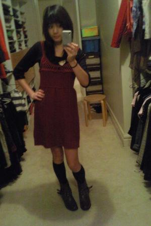 red dress - black sweater - black socks - brown Rivers boots