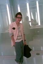 pink pastel   Techin  myself desjign blazer - munchus t-shirt - loosely blue pas
