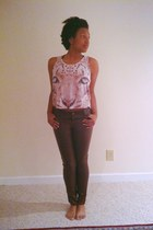 dark brown pleather pants - beige tiger crop top Forever 21 top