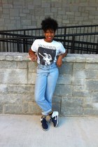navy nikes shoes - white jimi hendrix shirt - sky blue high waisted pants