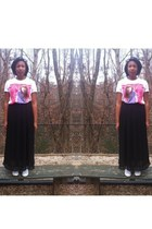 kelly kepowski shirt - black maxi skirt - white converse sneakers