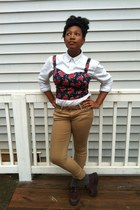 navy bustier shirt - white button down shirt - crimson creepers shoes