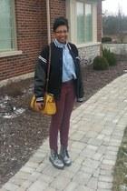 black varsity jacket jacket - silver doc martens boots - light blue shirt