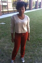 mens pumpkin pants - brown converse shoes - cream sweater