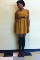 mustard Forever 21 dress - crimson creepers shoes - black Over the Socks socks