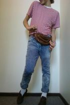 American Apparel t-shirt - HOMEMADE JEANS jeans - GRANDMAS VINTAGE boots - LEATH