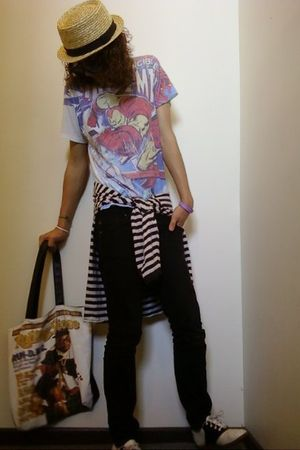 Secondhand t-shirt - American Apparel sweater - black Ksubi jeans - rumage sale