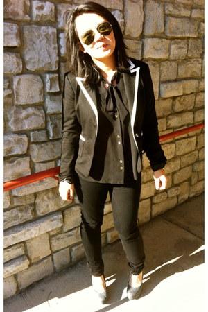 black Forever 21 blazer - black Forever 21 shirt - black Forever 21 pants