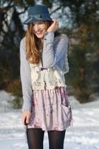 Esprit blouse - urba outfitters skirt - Primark vest - vintage hat