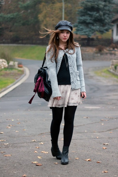 veromoda jacket - H&M boots - my moms bag - forever21 dress skirt