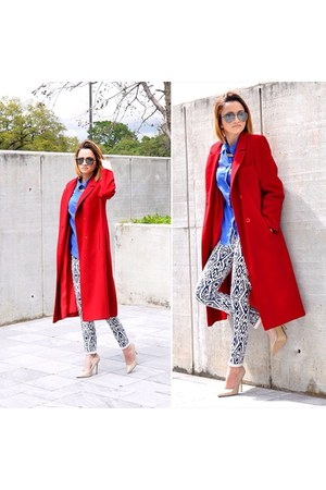 blue top - neutral Forever 21 shoes - red coat - blue Mango glasses