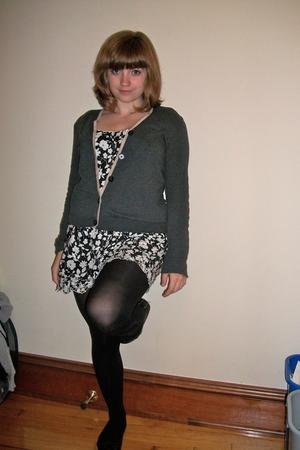 Gap sweater - Lux dress - K Bell tights - xhilaration shoes - longchamp purse