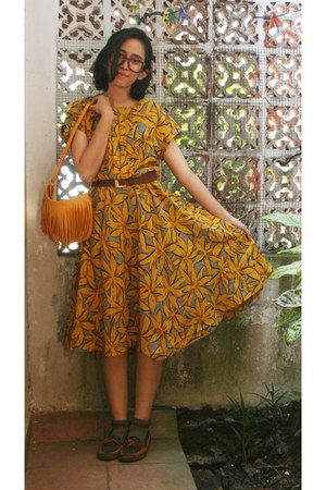 mustard floral dress - mustard fringe purse - light brown socks