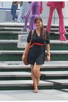 Mango belt - H&M dress - Aldo shoes - Vintage bag purse - Mango earrings