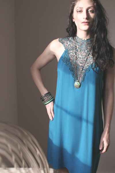 turquoise blue crochet teal dress