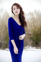 blue blue Ralph Lauren dress - black leather boots - white necklace