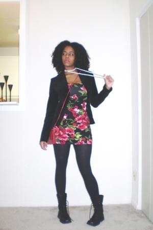 red Forever 21 dress - black H&M blazer - black New York & Company tights - blac