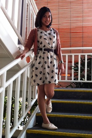 eggshell cotton thrifted dress - eggshell faux leather H&M shoes