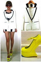 lapel blazer - monochrome dress - heel-less wedges